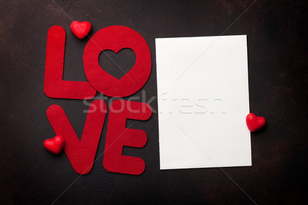 Valentines day greeting card with love word Stock photo © karandaev