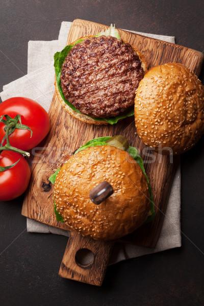 Smakelijk gegrild rundvlees tomaat kaas Stockfoto © karandaev
