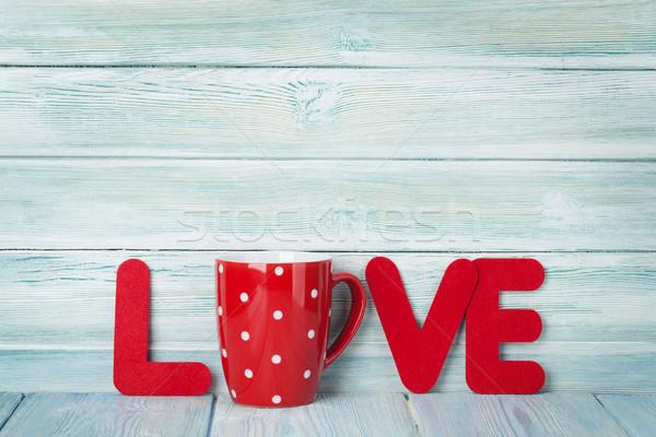 Valentijnsdag wenskaart warme drank beker liefde woord Stockfoto © karandaev