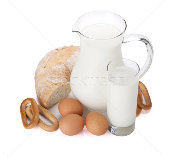 Tejesflakon üveg tojások kenyér izolált fehér Stock fotó © karandaev