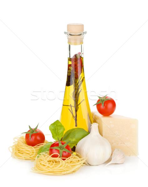パスタ トマト バジル オリーブオイル パルメザンチーズ 孤立した ストックフォト © karandaev