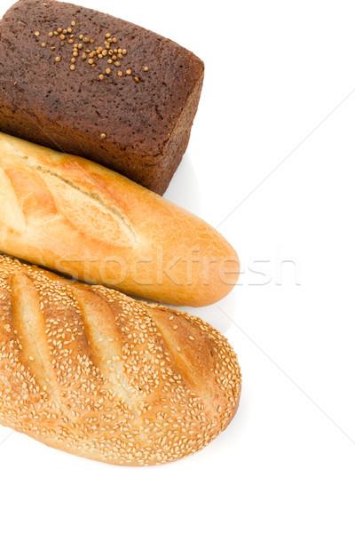 Zdjęcia stock: Trzy · chleba · odizolowany · biały · tle · obiedzie