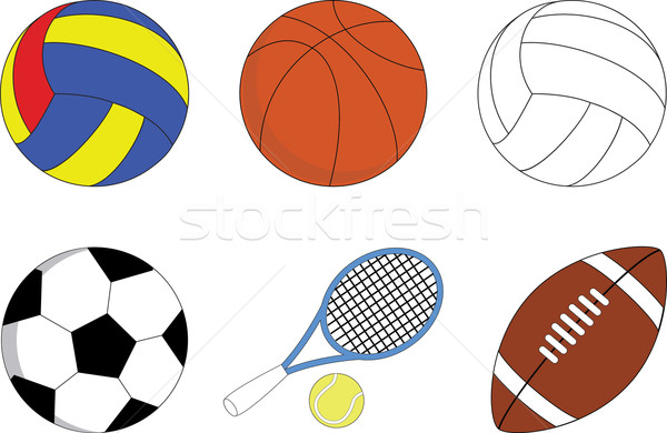 Stock fotó: Szett · sport · golyók · játékok · medence · baseball