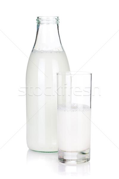 Kinyitott üveg üveg tej izolált fehér Stock fotó © karandaev