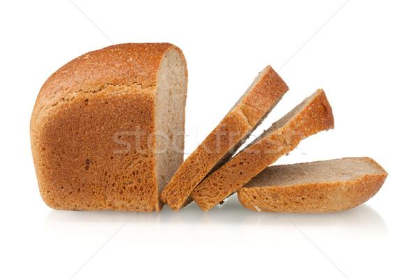 Geschnitten braun Brot isoliert weiß Essen Stock foto © karandaev