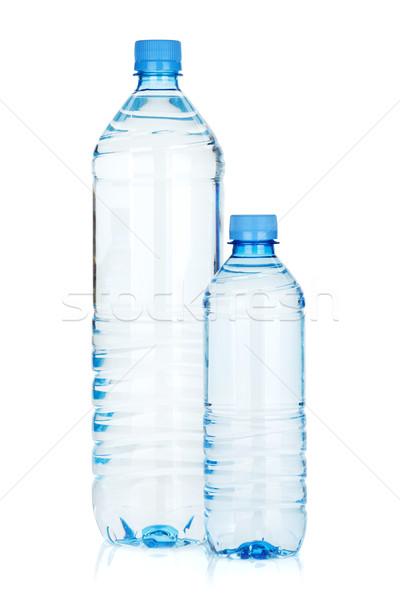 Foto d'archivio: Due · acqua · bottiglie · isolato · bianco · sfondo