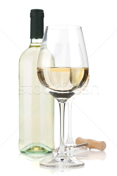 White wine glasses, bottle and corkscrew Stock photo © karandaev