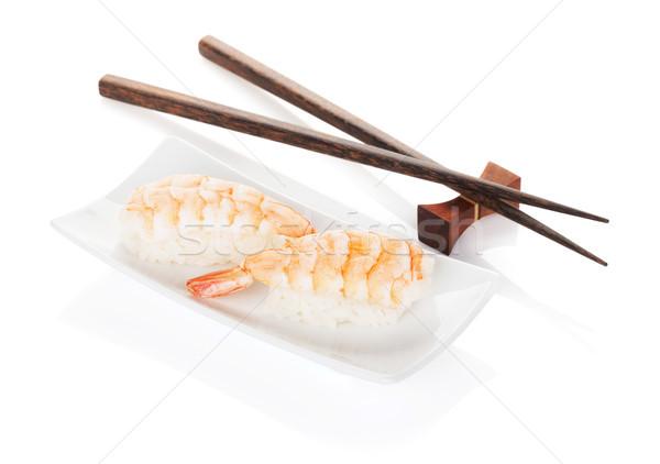 Karides sushi Çin yemek çubukları yalıtılmış beyaz bambu Stok fotoğraf © karandaev
