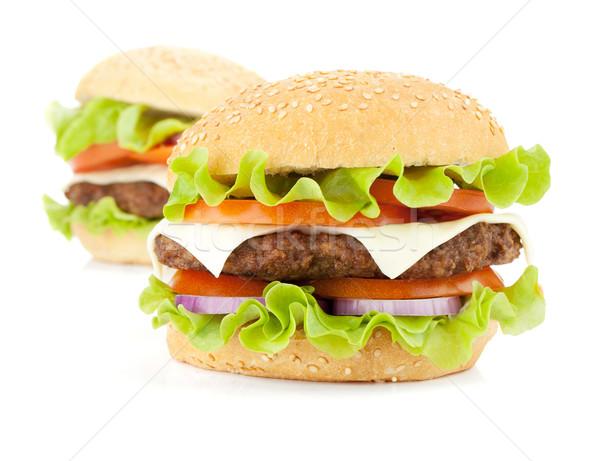 Two fresh burgers Stock photo © karandaev