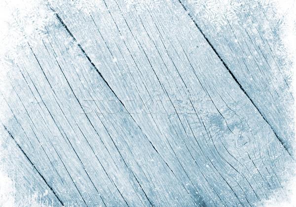 Blue wood texture with snow Stock photo © karandaev