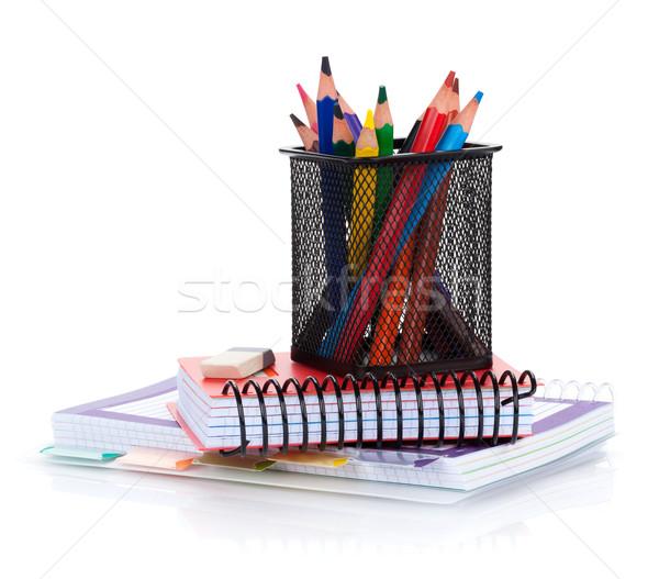 Colorful pencils and notepads Stock photo © karandaev