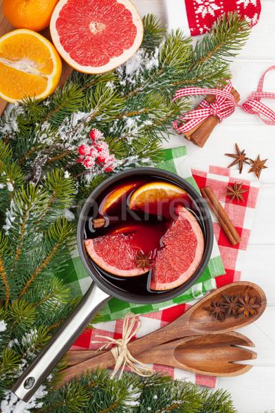 Navidad vino mesa de madera alimentos nieve Foto stock © karandaev