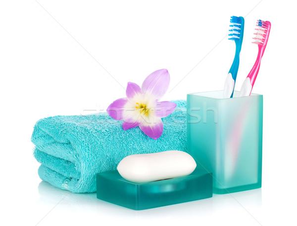 мыло полотенце цветок изолированный белый волос Сток-фото © karandaev