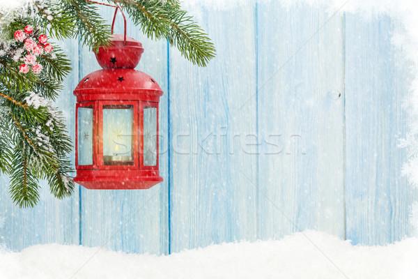 Karácsony gyertya lámpás hó fenyőfa ág Stock fotó © karandaev