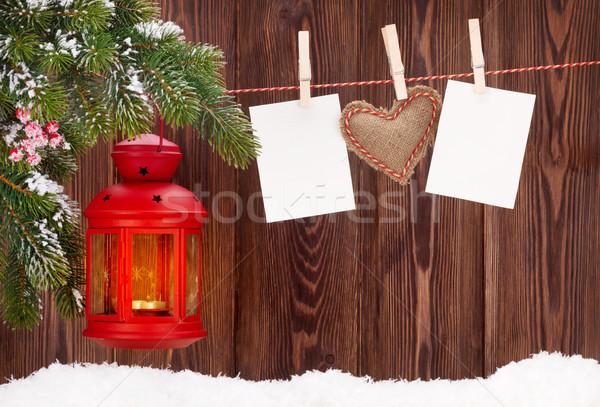 Karácsony gyertya lámpás fotó keret fenyőfa Stock fotó © karandaev