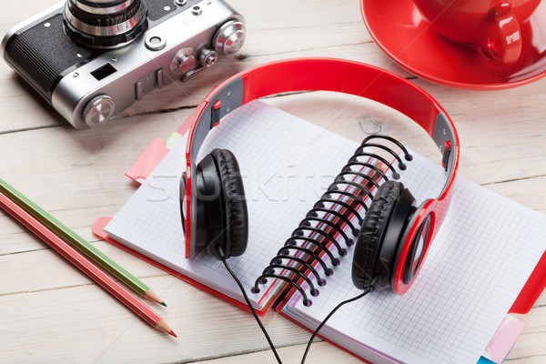 Set of travel stuff. Camera, headphones, notepad Stock photo © karandaev
