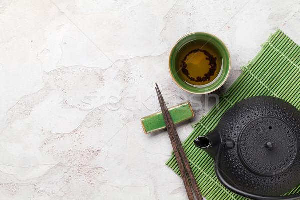 Asian thé bol théière pierre table Photo stock © karandaev