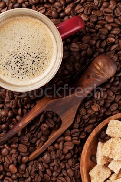 コーヒーカップ 豆 ブラウンシュガー 先頭 表示 食品 ストックフォト © karandaev