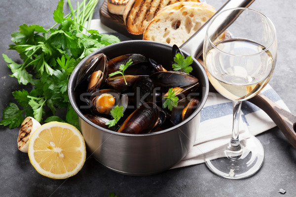 Stock photo: Mussels and wine