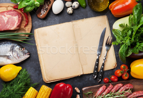Vegetables, fish and meat cooking Stock photo © karandaev