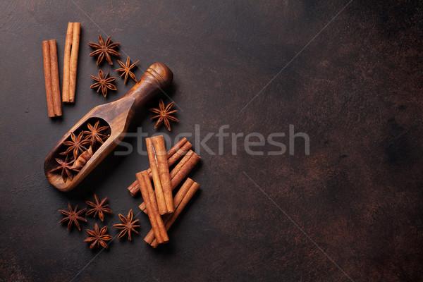 アニス シナモン スパイス 古い 石 表 ストックフォト © karandaev