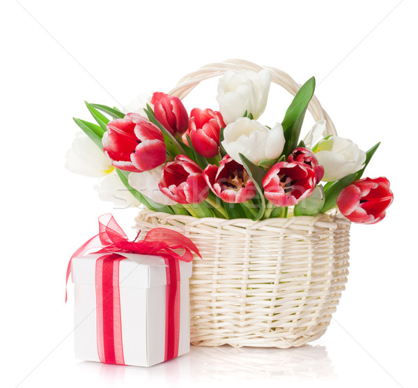 Stock photo: Colorful tulips and gift box