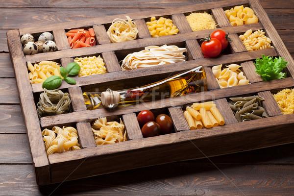 ストックフォト: パスタ · 木製 · ボックス · 料理 · 食品
