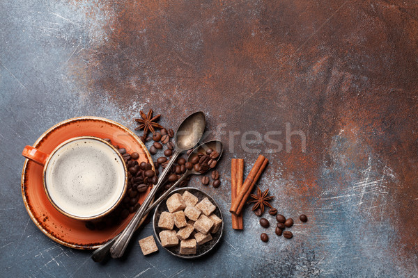 Coffee cup, beans, sugar and spices Stock photo © karandaev