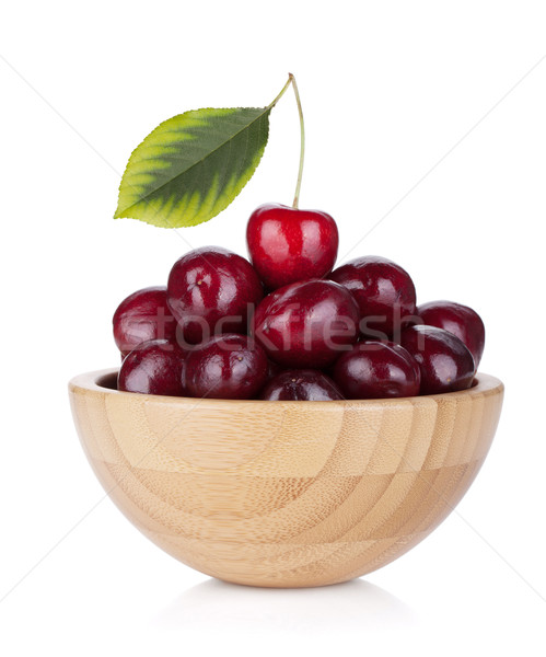 Stock photo: Ripe cherries in a wooden bowl