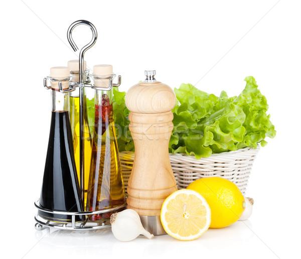 Saláta kosár citrom gyümölcsök bors shaker Stock fotó © karandaev