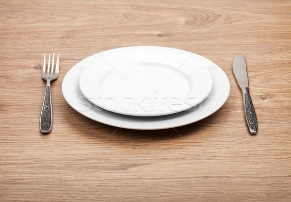üres tányér ezüst étkészlet szett fa asztal étel Stock fotó © karandaev