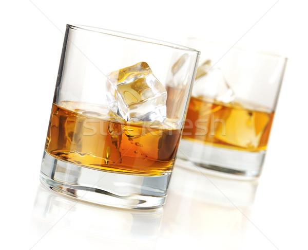 Twee whiskey bril geïsoleerd witte reflectie Stockfoto © karandaev
