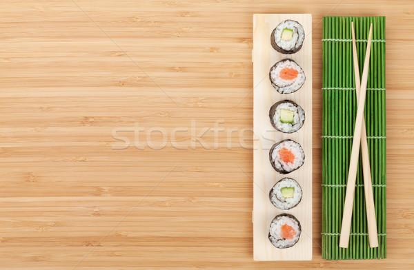 Sushi set salmone cetriolo bambù tavola Foto d'archivio © karandaev