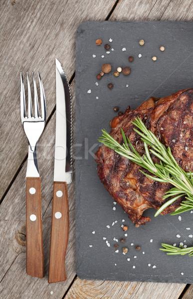 Sığır eti biberiye baharatlar ahşap masa ahşap tablo Stok fotoğraf © karandaev