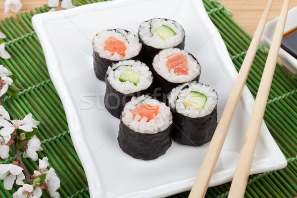 Foto stock: Sushi · maki · conjunto · fresco · sakura · ramo