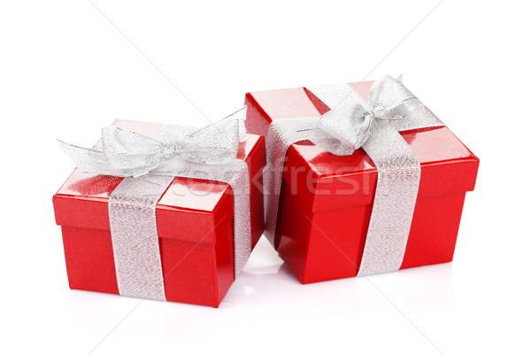 Dois vermelho caixas de presente isolado branco fundo Foto stock © karandaev