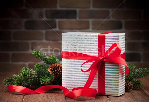 Weihnachten Geschenkbox Ast Zweig Holztisch Stock foto © karandaev