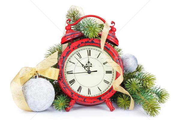 Natal relógio bugiganga decoração neve Foto stock © karandaev