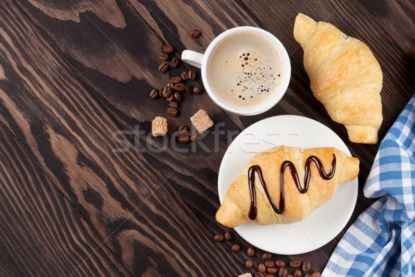Stockfoto: Vers · croissants · koffie · houten · tafel · top