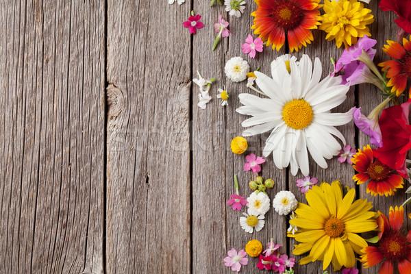 саду цветы древесины деревянный стол фон копия пространства Сток-фото © karandaev