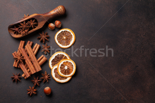 Mulled wine ingredients spices. Anise, cinnamon and cardamom Stock photo © karandaev