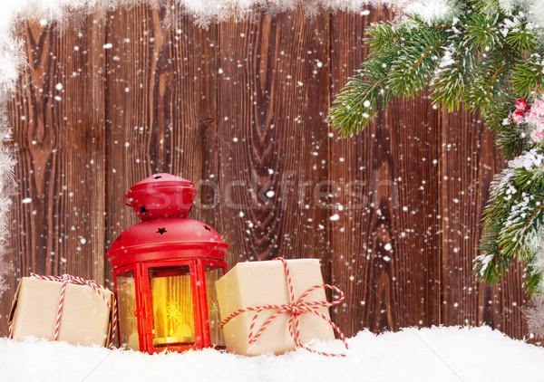 Karácsony gyertya lámpás ajándékdobozok fenyőfa hó Stock fotó © karandaev