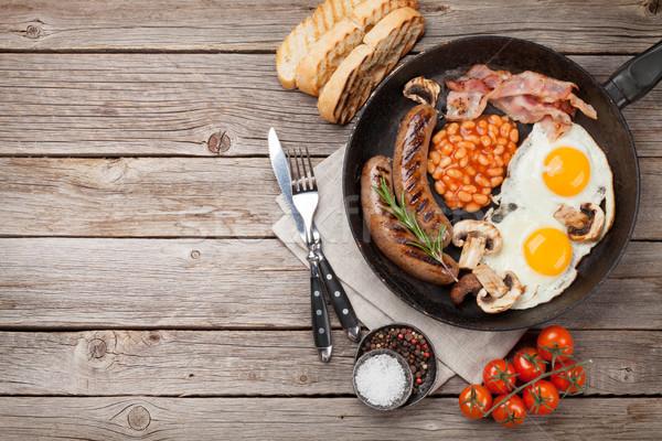 Engels ontbijt eieren worstjes spek Stockfoto © karandaev