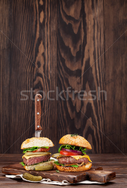 Tasty grilled home made burgers Stock photo © karandaev