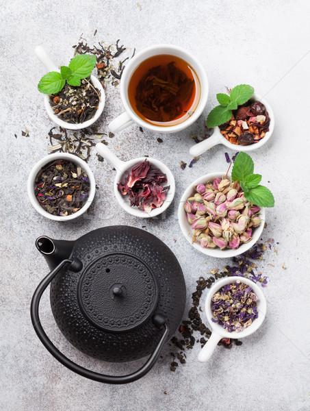 Thé théière noir vert rouge Photo stock © karandaev
