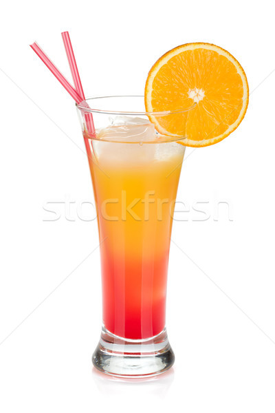 Tequila sunrise cocktail glace isolé blanche Photo stock © karandaev