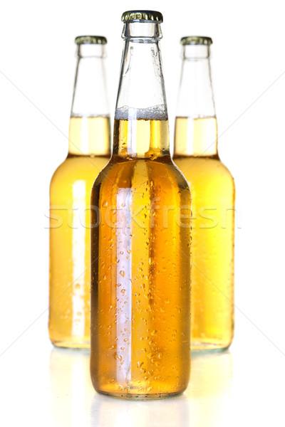 Foto stock: Cerveza · botellas · colección · tres · aislado