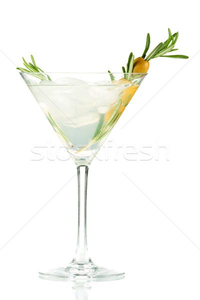 Foto stock: Martini · álcool · coquetel · oliva · alecrim · isolado