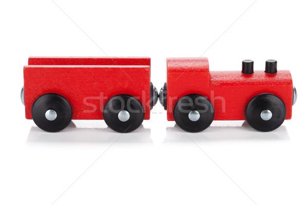 Brinquedo de madeira trem isolado branco bebê educação Foto stock © karandaev