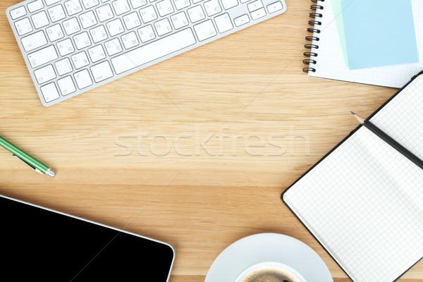 Сток-фото: чашку · кофе · деревянный · стол · бизнеса · служба